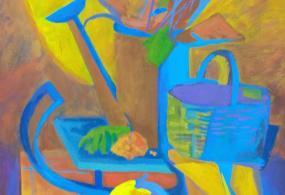 """Живописная работа """"собранный урожай"""" ,материал темпера,автор Метляева Алисия"""