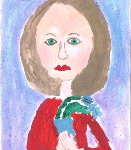 портрет мамы с подснежниками