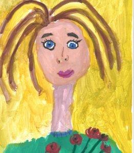 портрет мамы с цветами