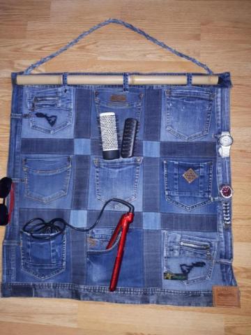 Настенный органайзер из джинсы