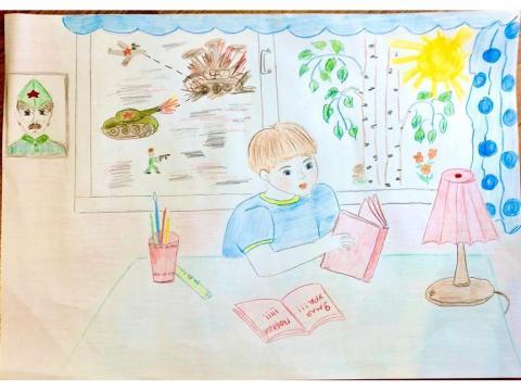 Рисунок,на котором мальчик читает о ВОВ