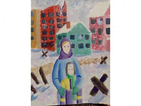 Работа выполнена гуашью. На рисунке изображены дети, в полуразрушенном городе. Они выжили и дождались освобождения.