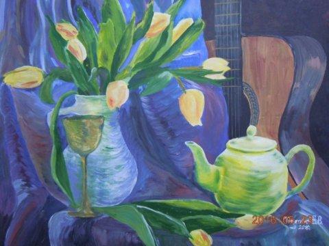 Натюрморт с тюльпанами - Тимохина Евгения Васильевна - конкурс «Искусство натюрморта»