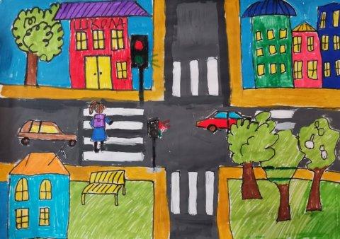 Безопасный перекрёсток - Саутиева Кира - конкурс «Правила дорожного движения глазами детей»