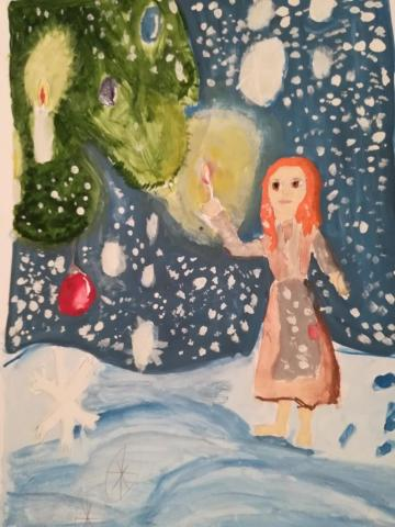 """Иллюстрация к сказке Ханса Христиана Андерсена """"Девочка со спичками"""""""