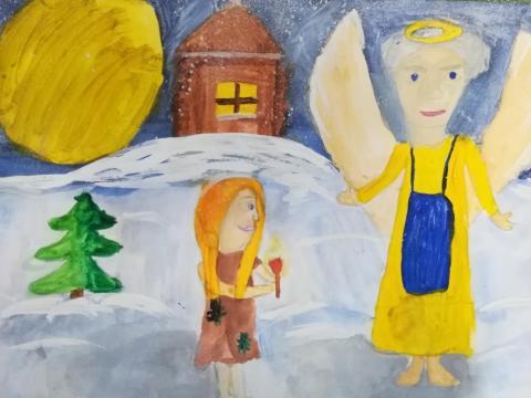 """Иллюстрация  к сказке Ханса Кристиана Андерсена """"Девочка со спичками"""""""