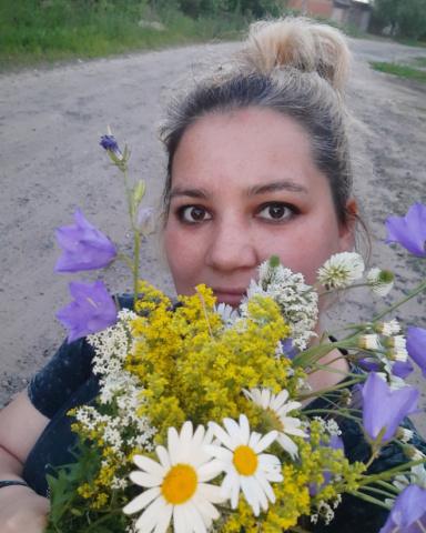 Мама с цветами