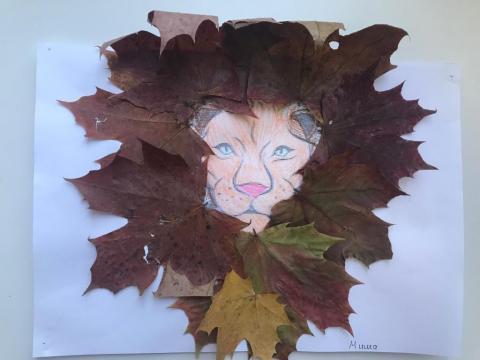 природный материал, листья, осень, лев