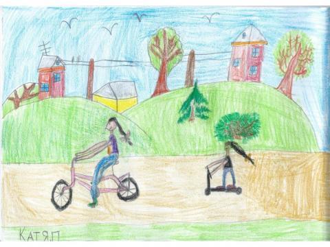 Мы со спортом дружим! Катаемся с мамой на велосипеде и самокате.