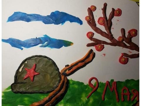 Открытка своими руками к празднику Победы. Техника исполнения - пластилинография (нетрадиционная техника рисования).