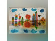 """""""Цветной город во время дождя"""""""