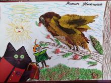 Эколёнок Ёлочка спасает птичку от кошки