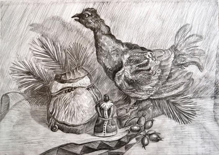 Натюрморт с птицей