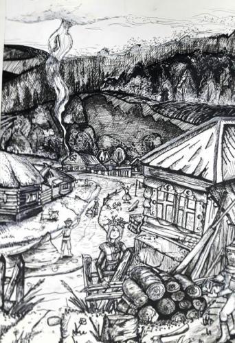 Иванилов Никита, Деревня Щегловка. Бумага, гуашь