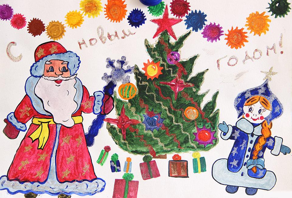 Как нарисовать открытку на новый год красками