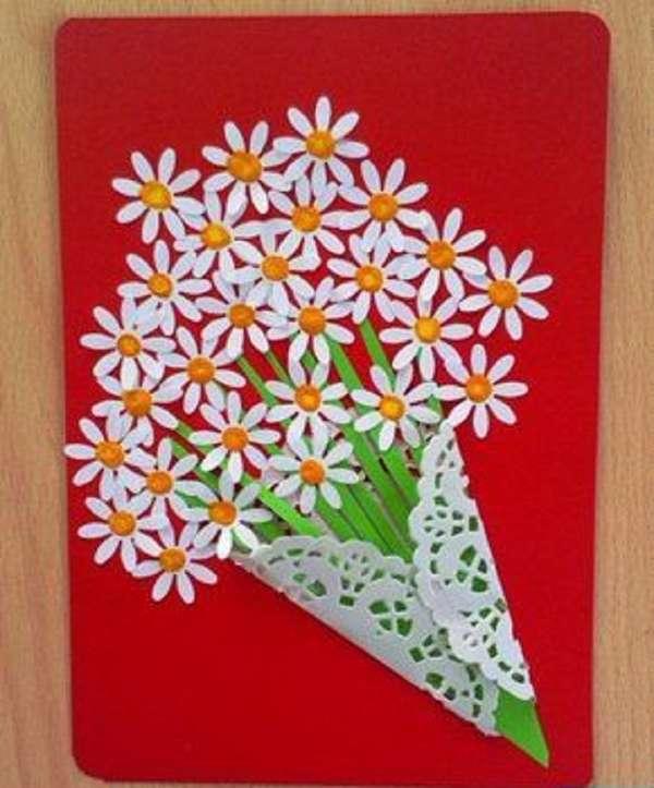 Букет для мамы открытка, марта красивые