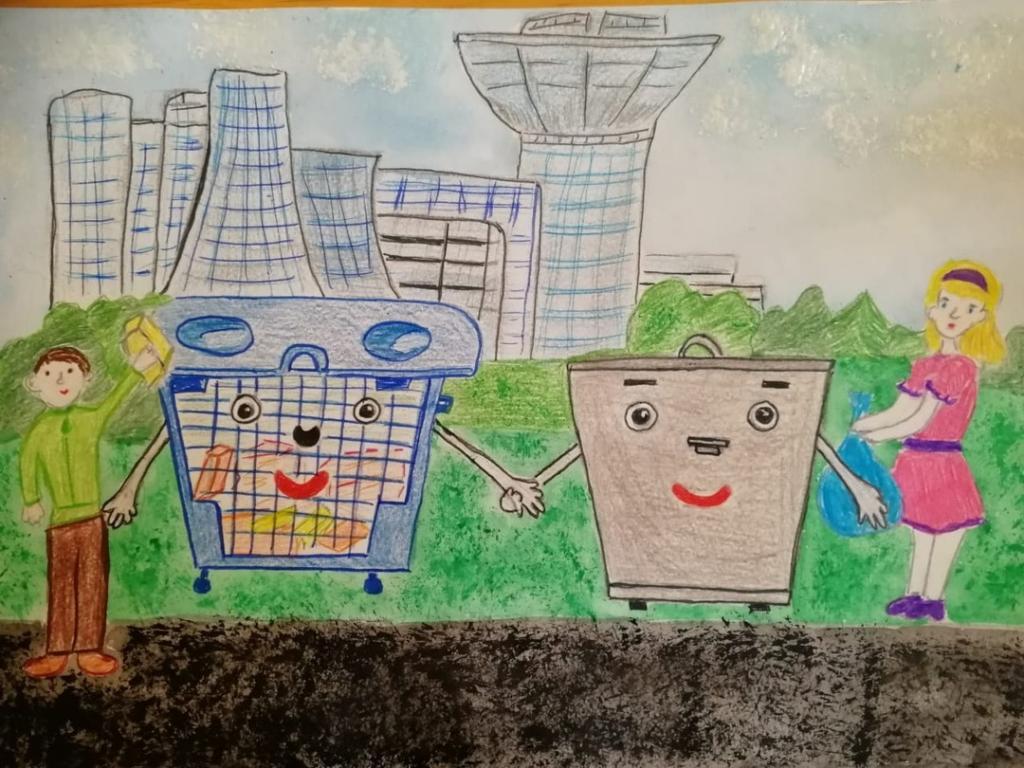 Детские рисунки мусорных баков