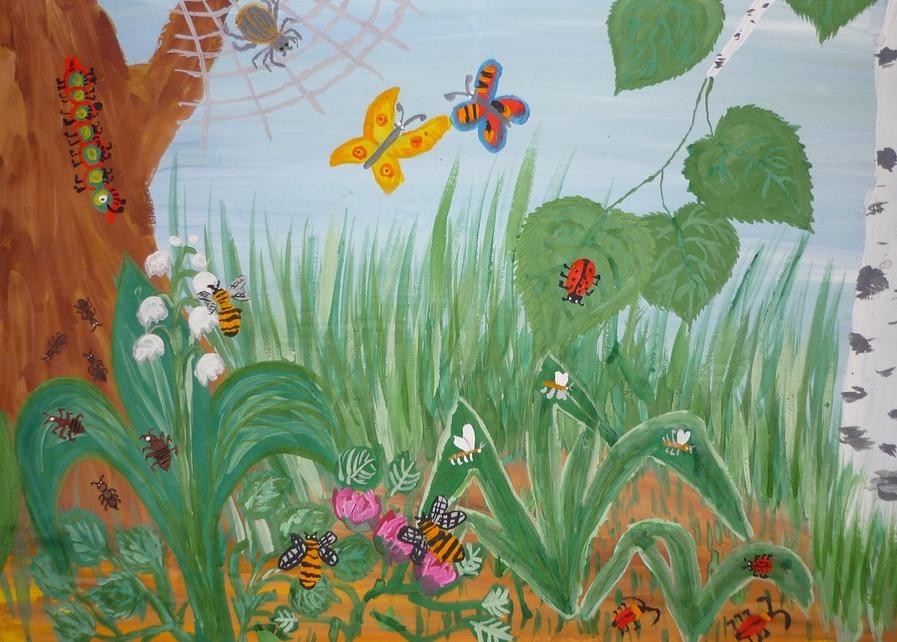 Днем учителя, картинка луг с насекомыми для детей