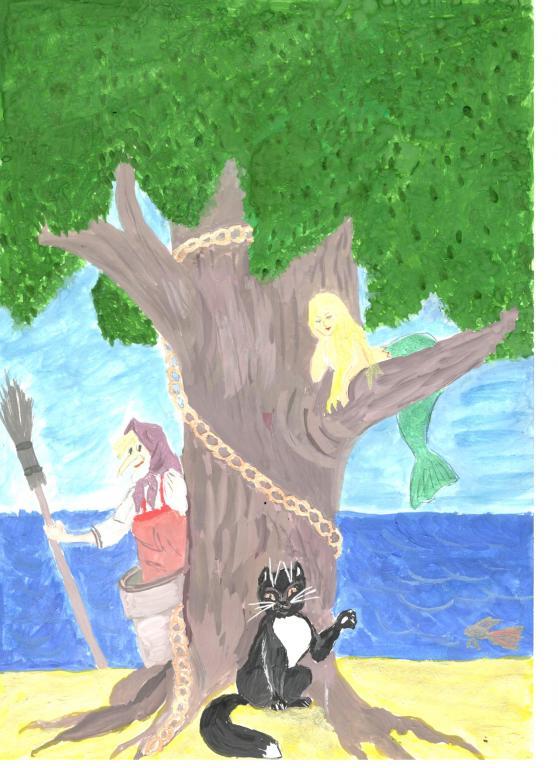 рисунок про лукоморье дуб зеленый нужно ходить парикмахерскую