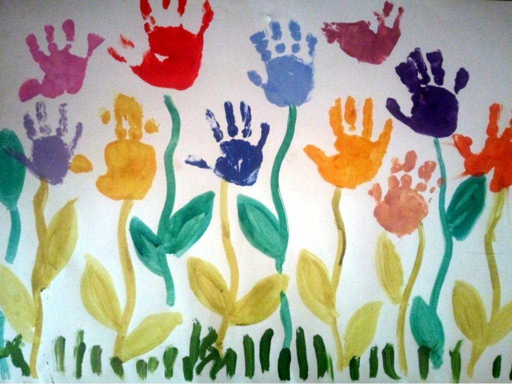удивились, рисунки коллективная работа тюльпаны ладошками сделать переход