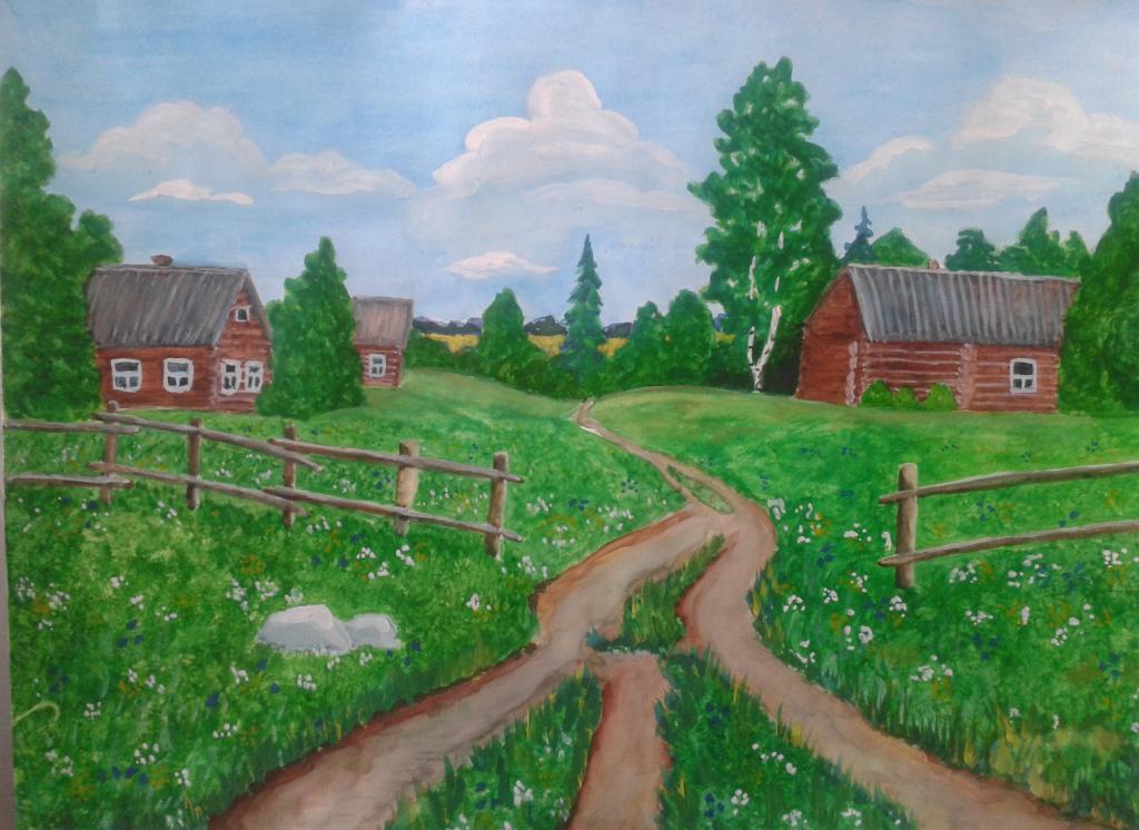 картинки лето в деревне карандашом сериала