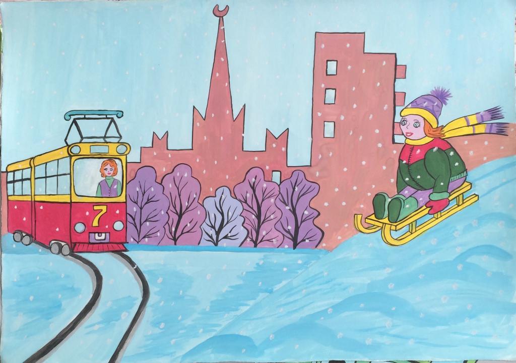 Рисунок правил дорожного движения зимой ничего