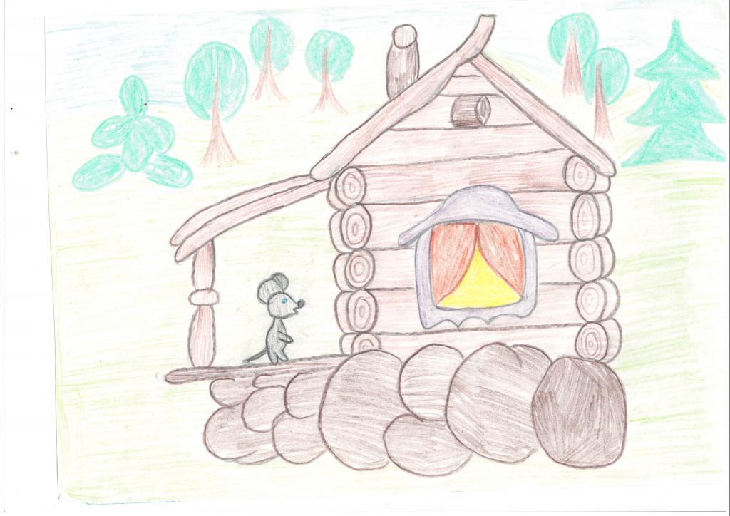 Нарисовать рисунок к сказке теремок поэтапно