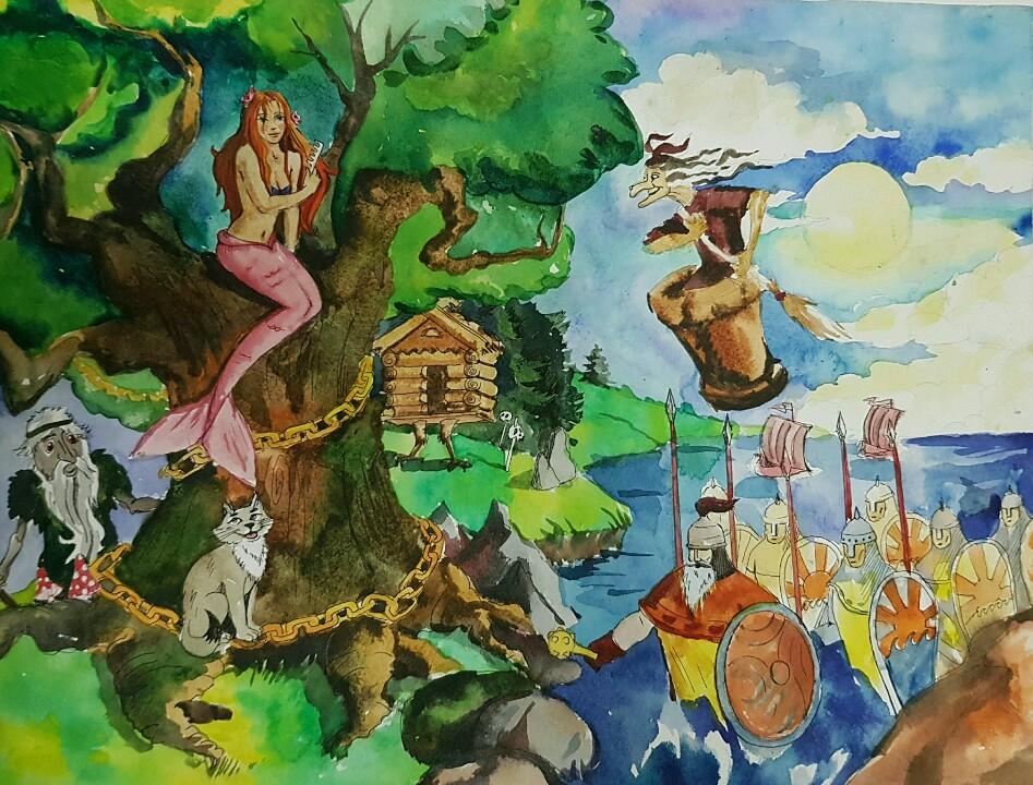 Картинки сказки у лукоморья дуб зеленый