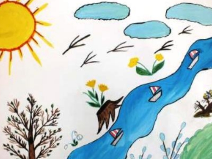 Утро уважаемая, рисунок весна 2 класс