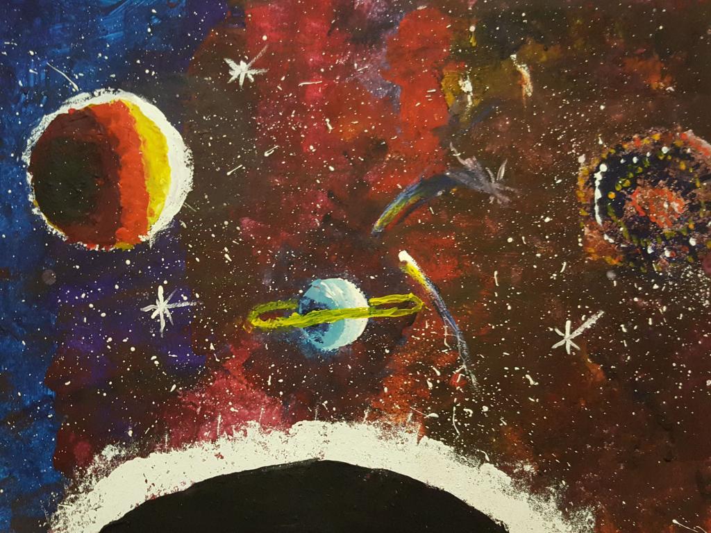 Картинки красками космос, красивые для