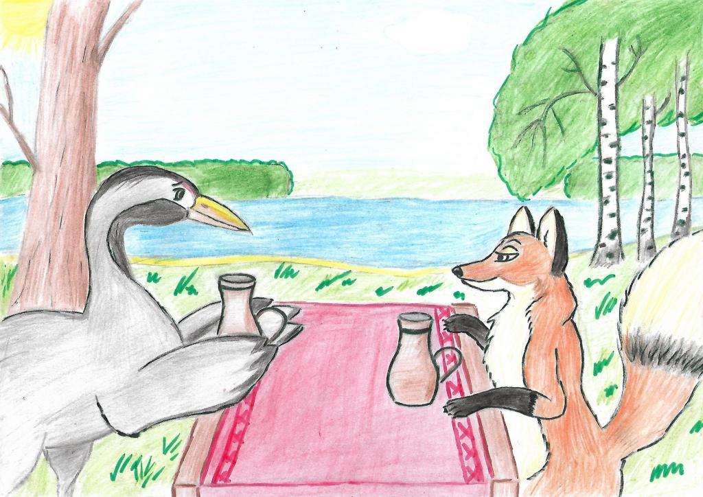 рисунки и картинки к сказке лиса и журавль