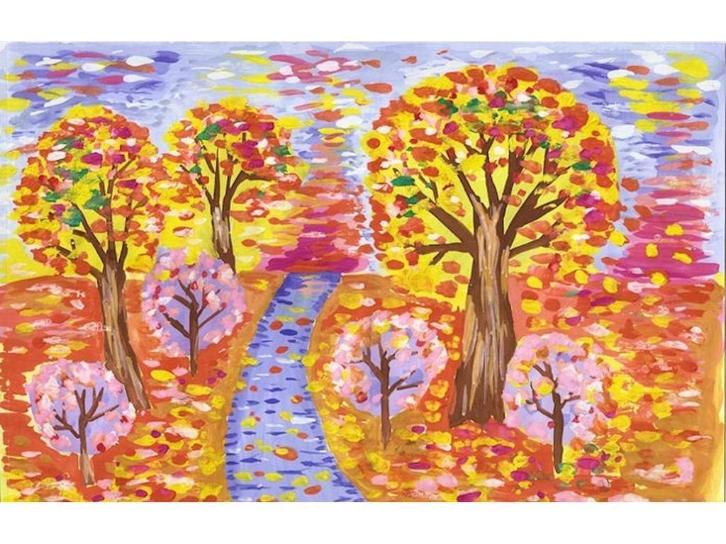 Осень золотая рисунок в школу пример